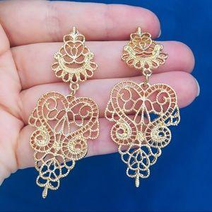 Boho Gold Tone carved chandelier earrings